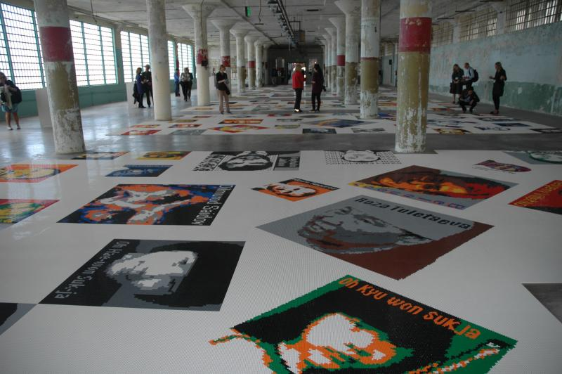 "The piece ""Trace"" uses 1.2 million lego bricks to create portraits of 176 political prisoners."