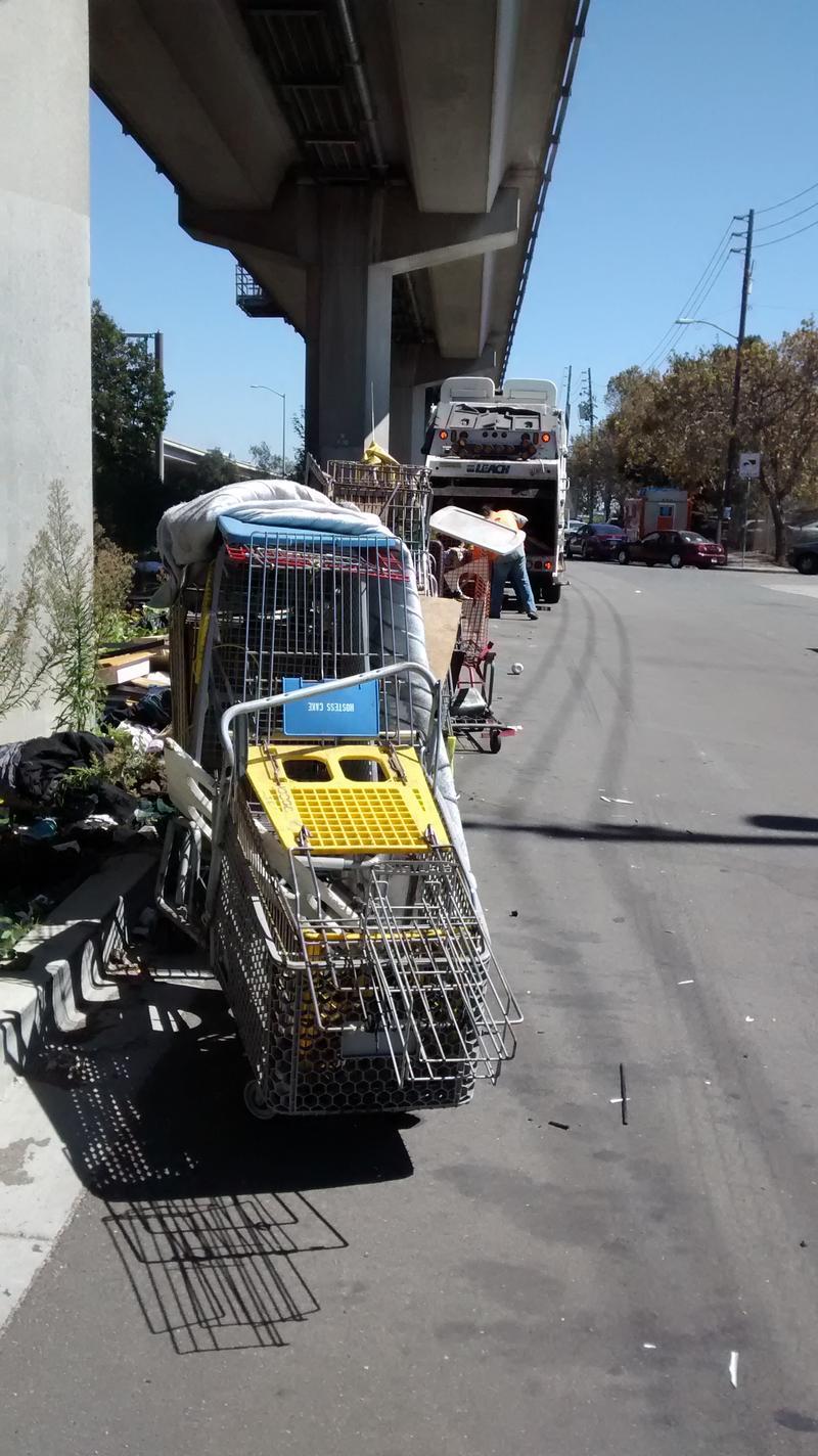 Line of shopping carts along BART tracks