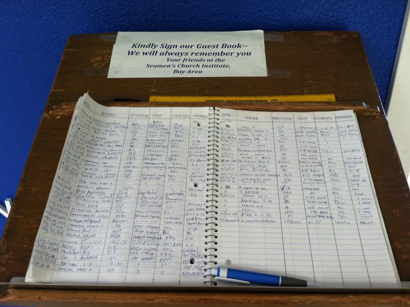 Guest book at the International Maritime Center