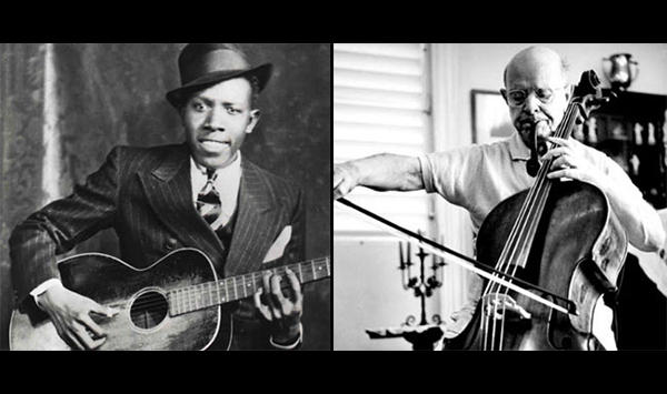 Robert Johnson & Pablo Casals with their instruments of choice