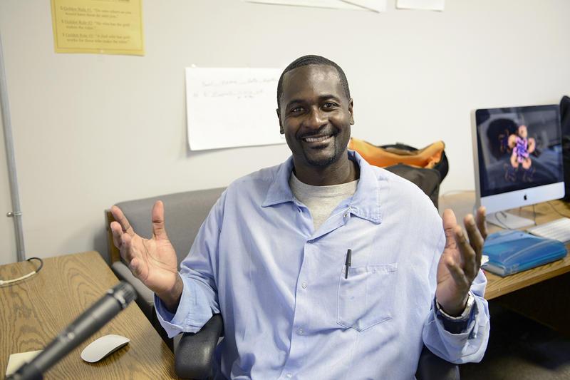 Greg Eskridge in the media lab at San Quentin Prison
