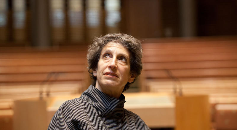 Susie Coliver looks up inside the sanctuary at Kol Shofar