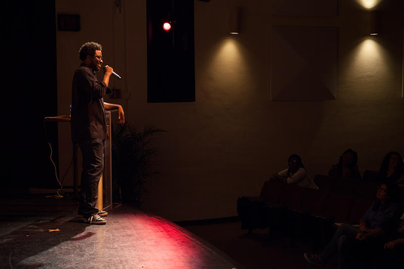 Comedian W. Kamau Bell performing his stand up act