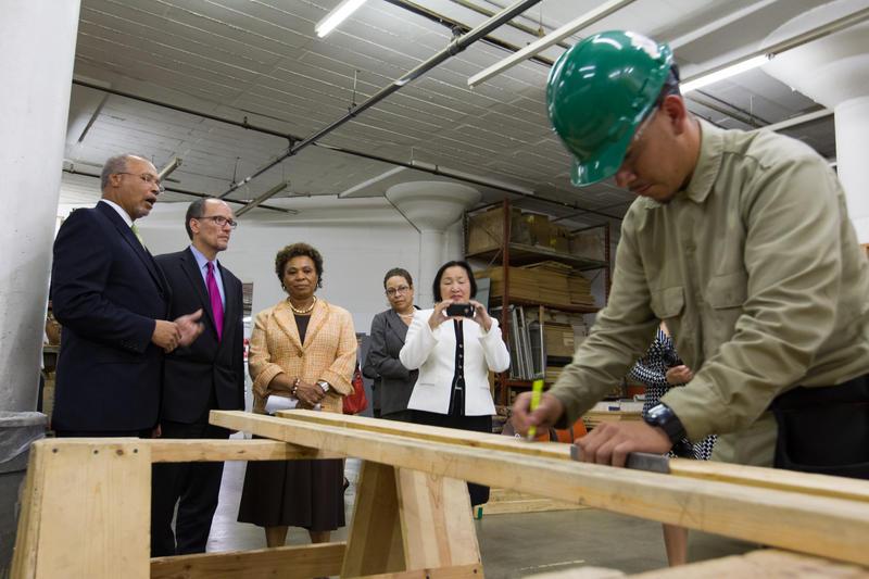 U.S. Secretary of Labor Thomas Perez tours the Cypress Mandela Training Center with U.S. Representative Barbara Lee, and Cypress Mandela Director Art Shanks on Tuesday May 27, 2014.