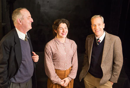 Val Hendrickson (Knox), Kirsten Peacock (Pat), and John Fisher (Turing) in BREAKING THE CODE by Hugh Whitemore at Theatre Rhinoceros...