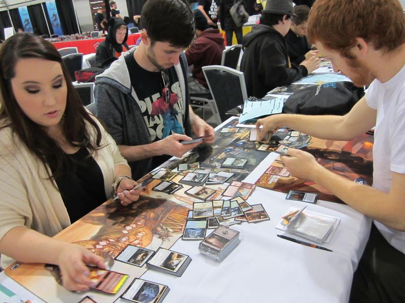Our heroes prepare their decks for battle. Michelle Roberson, Mike Conn and Matt Wilcox.