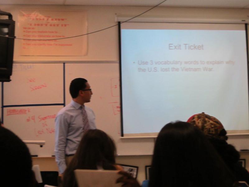 Teacher Jesse Shapiro lectures on the Vietnam War