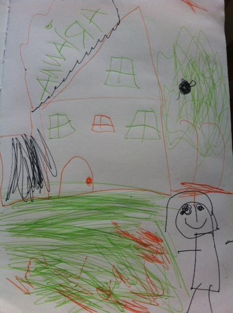 A picture drawn by displaced resident Arianna Ortiz