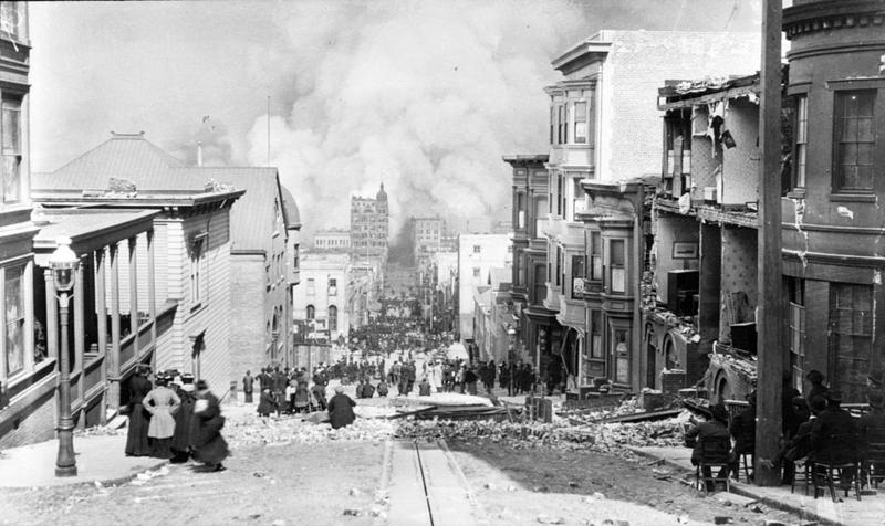 Looking Down Sacramento Street April 18, 1906