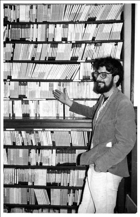 Peter Thompson with a small part of the tape collection at Vancouver Co-op Radio in the mid-'80s