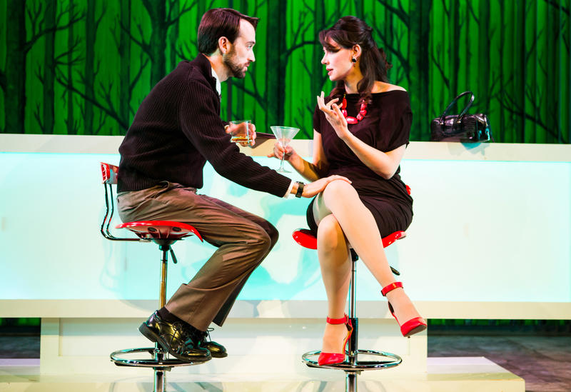 Joe (Kyle Cameron) and Kelly (Liz Sklar) meet at the bar to discuss Joe's wedding plans in 'Trouble Cometh' at SF Playhouse.