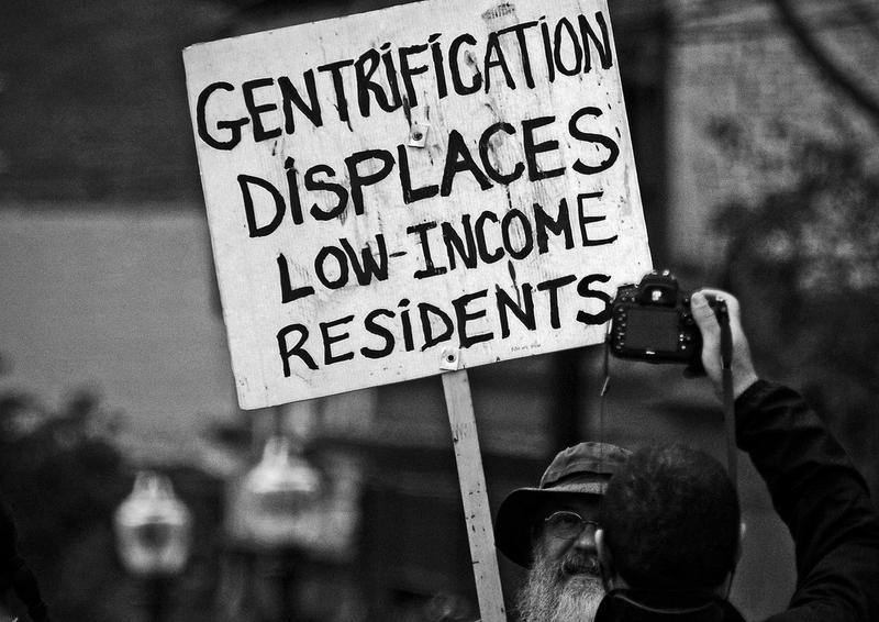 Individual protesting gentrification