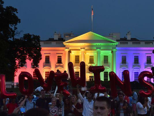 The White House covered in Rainbow light