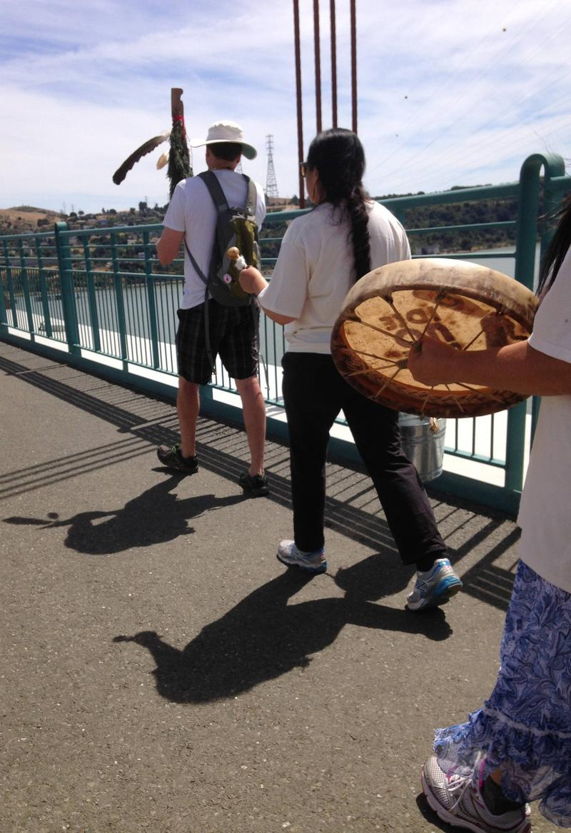 Sacred staff leads walk across Carquinez Bridge
