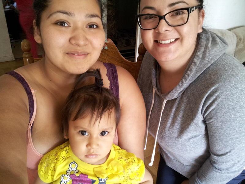 Jasmine Jurado (left) and Nurse Lopez, with baby Anais.