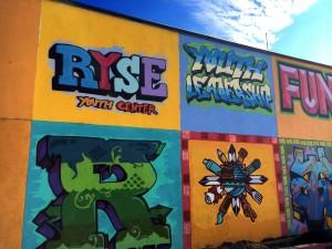 The mural on the outside of the RYSE Youth Center in Richmond, California, where Xavier teaches his beatmaking class to give teenagers a safe haven