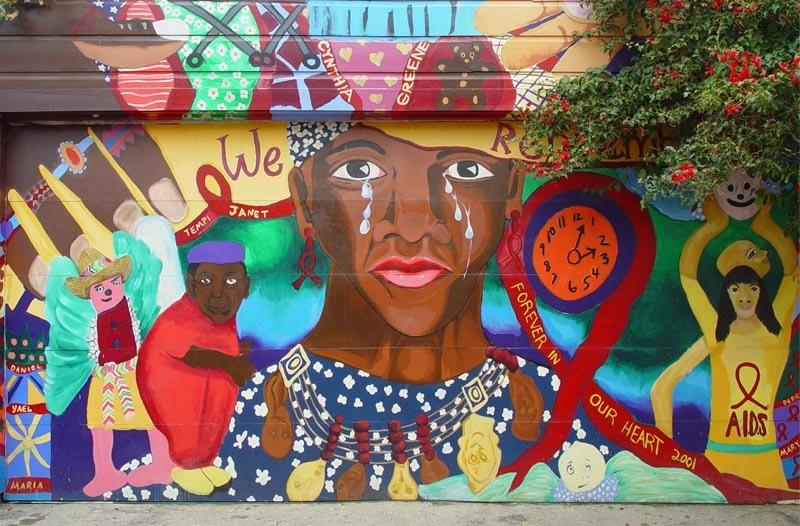 "Edythe Boone's mural ""Those We Love We Remember"" in the Mission."