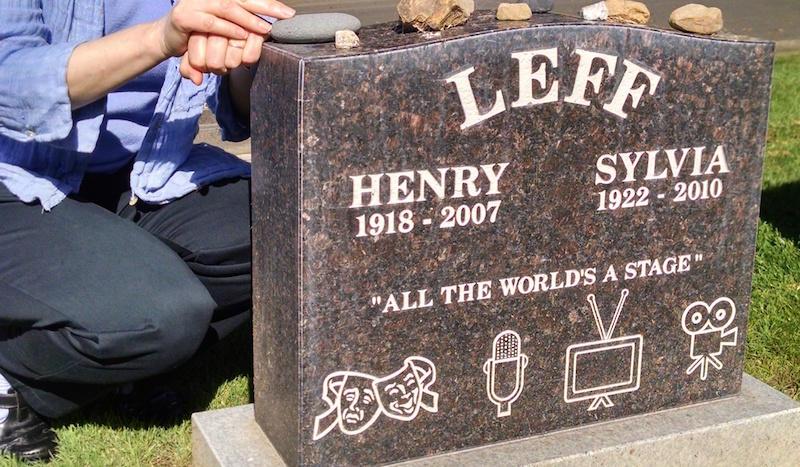 Judi Leff at her parents' grave in Colma