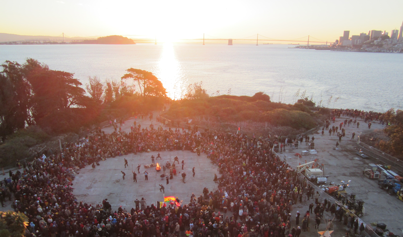 Maori people in the middle of the circle at the Indigenous People's Annual Thanksgiving Sunrise Gathering