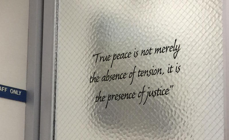This sign hangs outside the Special Victims Unit in the San Francisco Hall of Justice