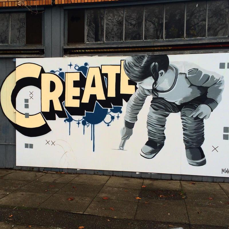Create mural by Artist and Muralist Marcos LaFarga on Telegraph Avenue, Oakland, CA