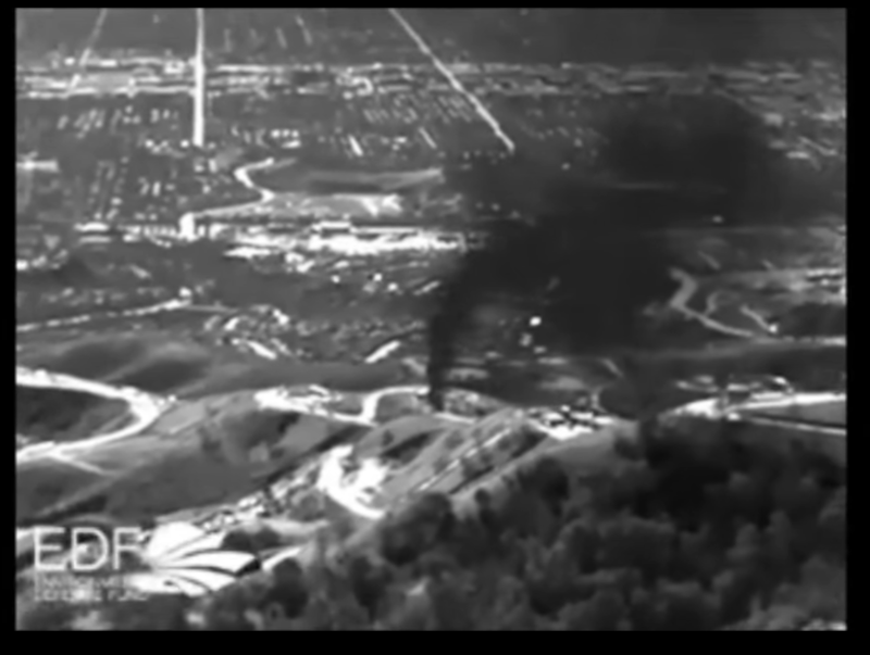 Aerial infrared shot of Aliso Canyon natural gas leak
