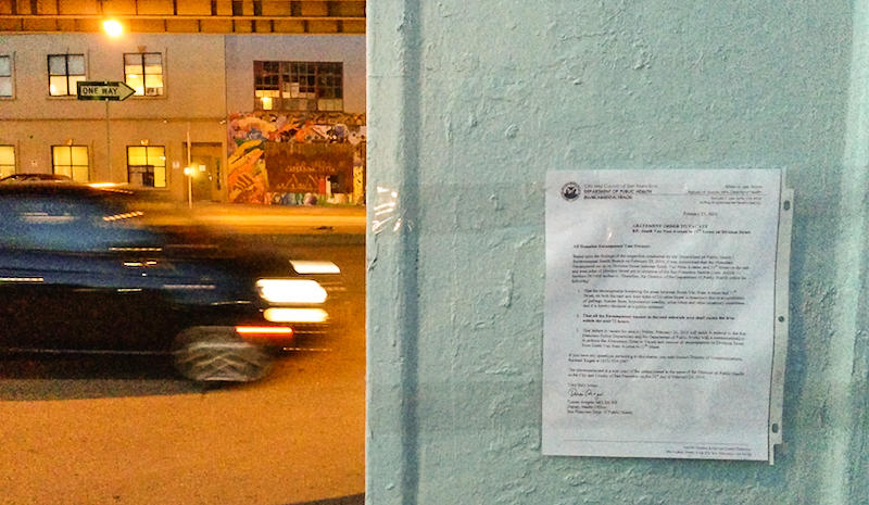 "The city posted notices to ""All Homeless Encampment Tent Owners"" on Tuesday telling them to vacate Division street by Friday"