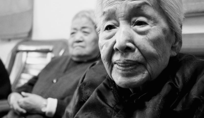 A portrait of senior home resident.