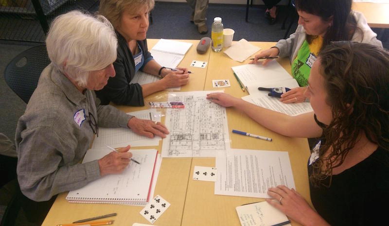 Berkeley residents Linda Worthman, Azimat Schulz, Susan Brooks, and Margaret Goyette at a Berkeley disaster preparedness training