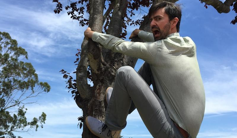 Nathanael Johnson climbs a tree outside of KALW