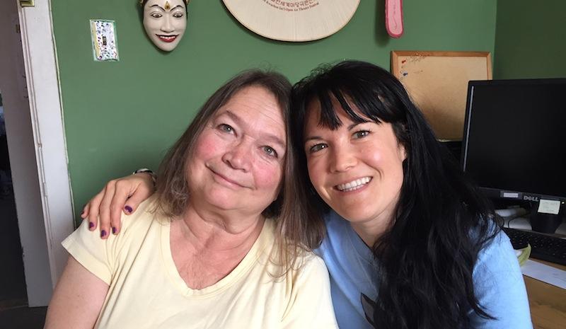 San Francisco Mime Troupe members Ellen Callas and Lisa Hori-Garcia