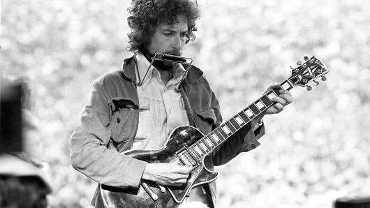 Bob Dylan at Kezar Stadium in San Francisco on March 23, 1975
