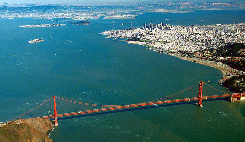 Aerial view of the Golden Gate and the central portion of San Francisco Bay