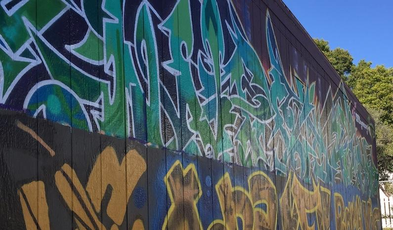 One of the art projects painted by students from Unity Charter High School, East Oakland