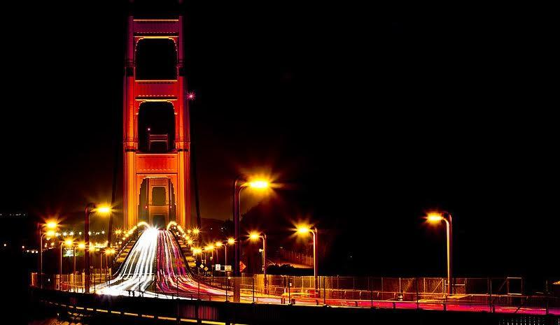 The Golden Gate Bridge at Night, Long Exposure