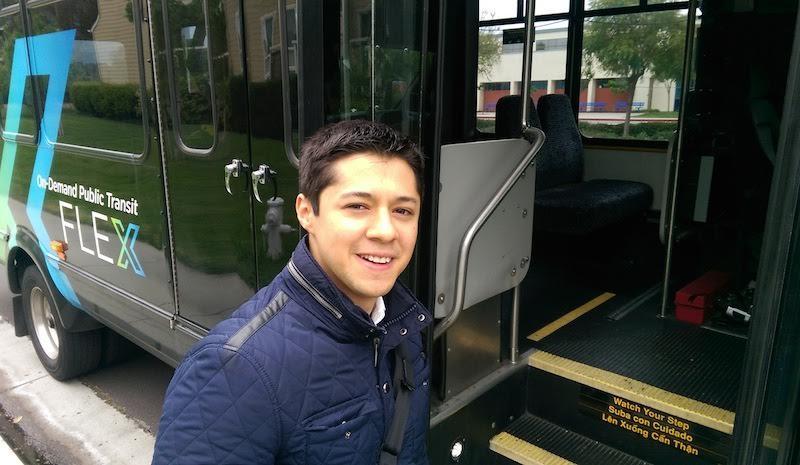 Moises Olmedo rides a Flex bus in Santa Clara County