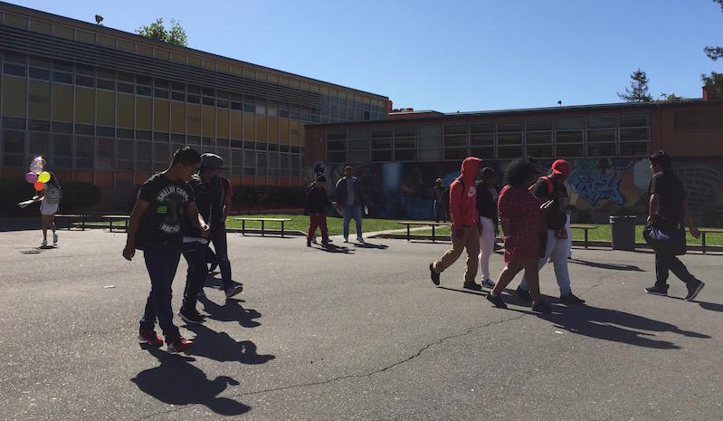 Students at Castlemont High in East Oakland