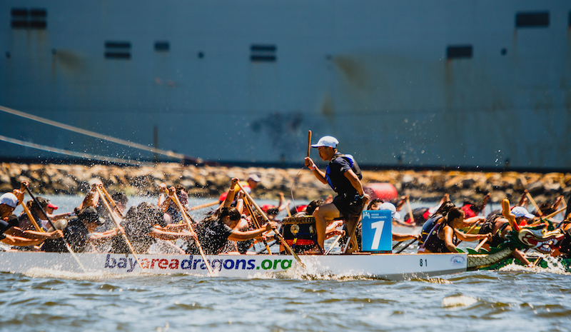 Captain Jenny Lee with CYC Dragon Boat. Boats are head to head and the pressure is on to win the sprint.