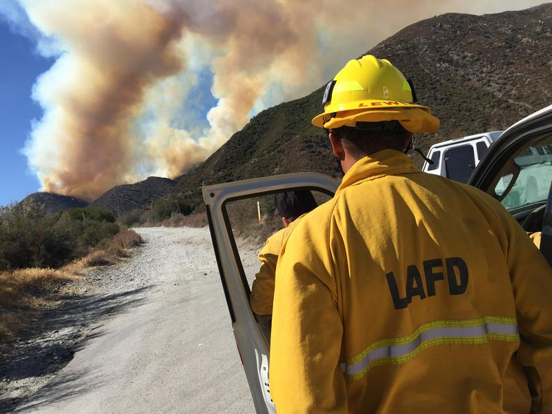 Los Angeles Fire Department (LAFD) Responds to Blue Cut Wildfire in San Bernardino County