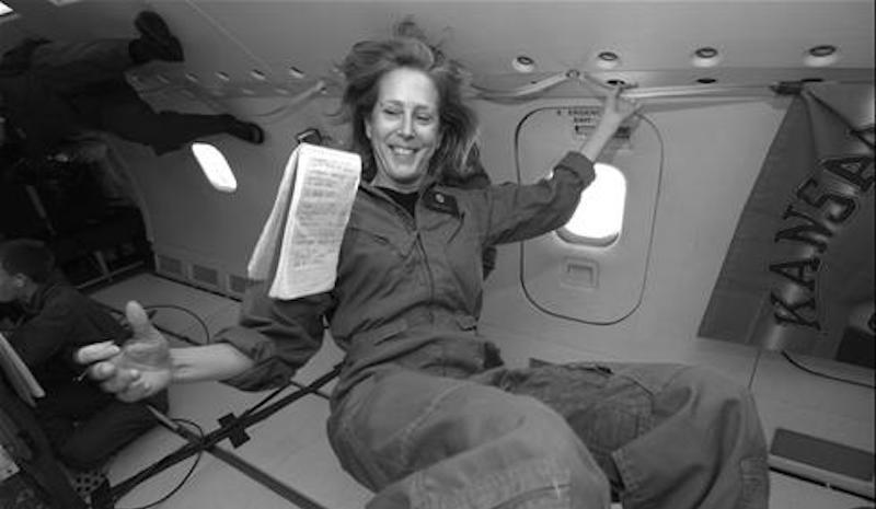 Mary Roach in zero gravity