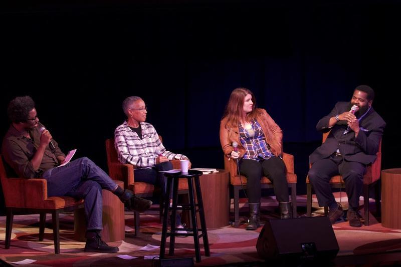 W. Kamau Bell, LaDoris Cordell, and Mallory Ortberg listen to Kassem Bentley