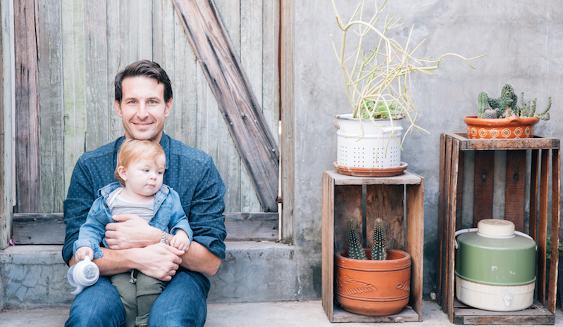 Daniel Heimpel and his son Theodore, on his first birthday, in Los Angeles