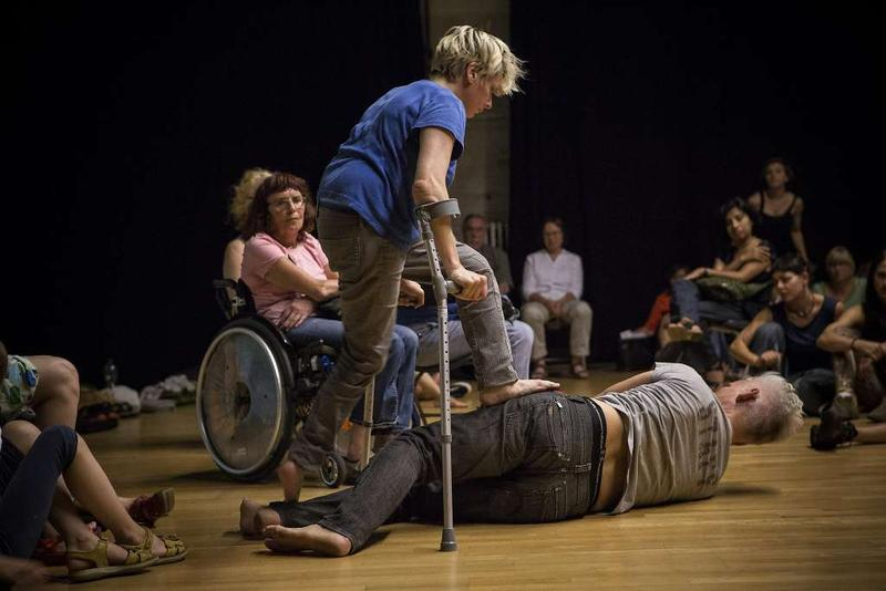 Claire Cunningham and Jess Curtis (on floor) in 'The Way You Look (at me) Tonight'…