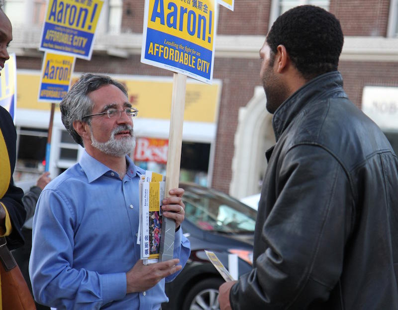 Aaron Peskin campaigning for San Francisco Supervisor of Disctrict 3 in the documentary Company Town