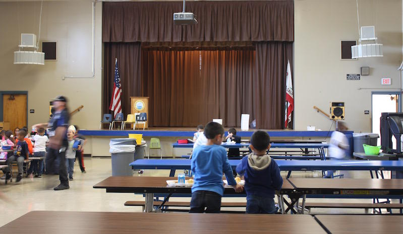 Students in the lunchroom at Park Elementary School in Hayward.