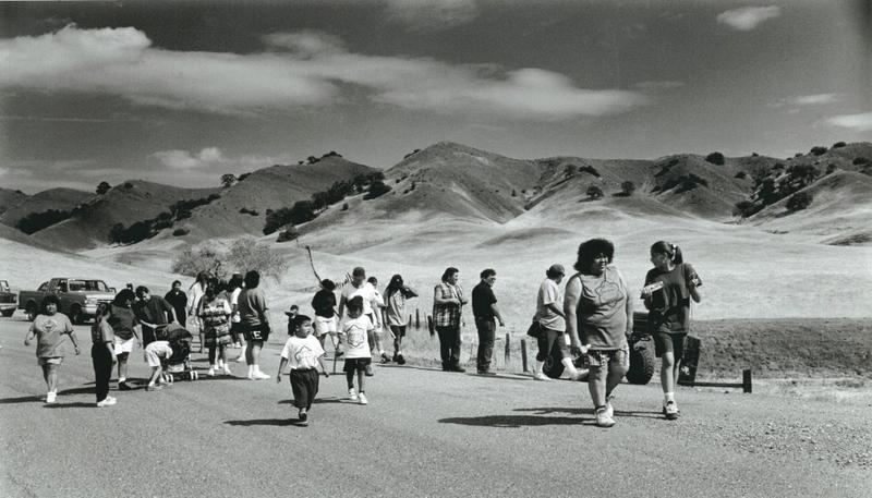 Members of the Round Valley Indian Tribe retrace the 1863 route of the Nome Cult walk in 2013, commemorating the 100th anniversary of the Konkow Maidu Trail of Tears, the route of forced relocation of Indians from Chico, California, to Covelo, California.
