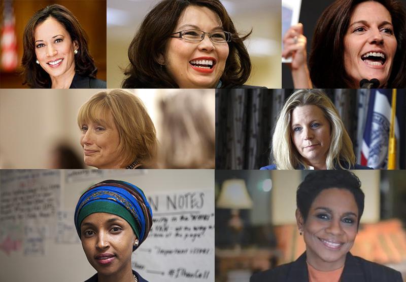 Women who won down-ballot races in 2016. Kamala Harris, (D-CA) U.S. Senate, Tammy Duckworth (D-IL), U.S. Senate; Catherine Cortez Masto (D-NV), U.S. Senate; Kelly Ayotte (D-NH), U.S. Senate; Liz Cheney (R-WY), U.S. House; Ilhan Omar (D-MN), Minnesota Hous