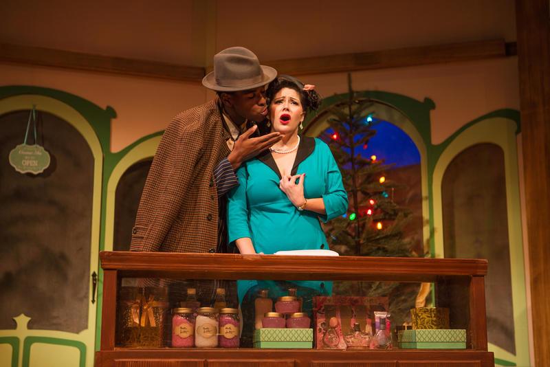 Steven Kodaly (Rodney Earl Jackson Jr.) seduces Ilona Ritter (Nanci Zoppi) in 'She Loves Me' at SF Playhouse...