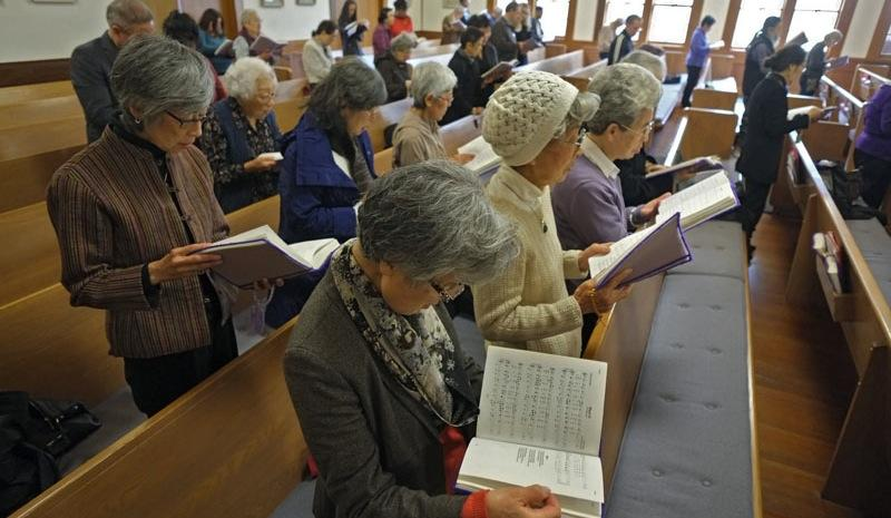 Congregants at the Buddhist Church of San Francisco