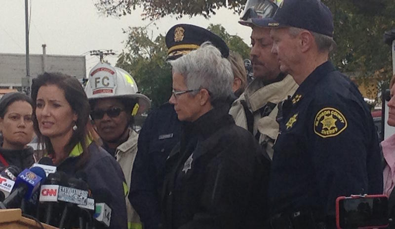 Mayor Libby Schaaf at the site of the 'Ghost Ship' fire